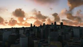Skyline no nascer do sol, nuvens da cidade do lapso de tempo, noite ao dia ilustração royalty free