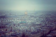Skyline no por do sol, França de Paris Fotografia de Stock