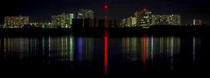 Skyline norte da vila da baía de Miami Beach Fotografia de Stock Royalty Free