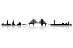 Skyline nova da região do oresund ilustração do vetor