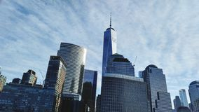 Skyline NYC. Few of the tallest buildings in NYC. View from the boat royalty free stock photo