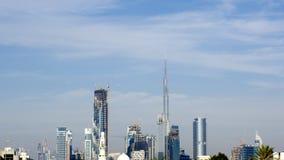 Skyline od dubai with burj khalifa. Afternoon image from al quoz industrial area of the skyline of dubai Royalty Free Stock Photography