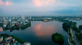Free Skyline Of Hanoi  And Joan Kiem Lake Vietnam Asia On Sunset Royalty Free Stock Images - 17359579