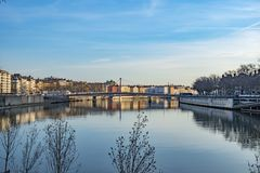 Free Skyline Of Lyon At The River Rhone Stock Photography - 114271912