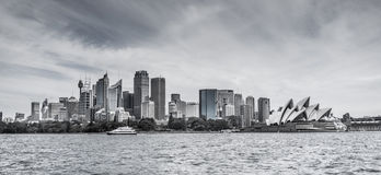 Skyline Of Sydney CBD With Opera House In Black And White Stock Image