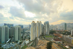 Skyline office buildings and public house urban. Jordan Valley ,Ping Shan view of kowloon 2016 Royalty Free Stock Photo