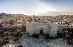 Skyline of the Old City in Jerusalem from north, Israel. Royalty Free Stock Photography