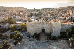 Skyline of the Old City in Jerusalem from north, Israel. Skyline of the Old City in Jerusalem with Damascus Gate, Israel. Middle east Royalty Free Stock Photo