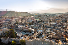 Skyline of the Old City in Jerusalem from north, Israel. Stock Photography