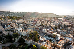 Skyline of the Old City in Jerusalem from north, Israel. Stock Images