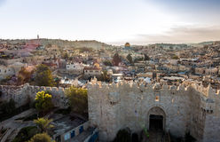 Skyline of the Old City in Jerusalem from north, Israel. Royalty Free Stock Images