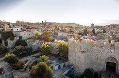 Skyline of the Old City in Jerusalem from north, Israel. Royalty Free Stock Photo