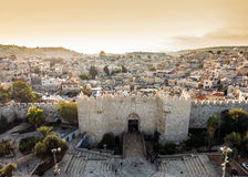 Skyline of the Old City in Jerusalem from north, Israel. Stock Photos