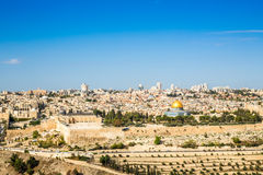 Skyline of the Old City at Temple Mount in Jerusalem, Israel. Stock Images