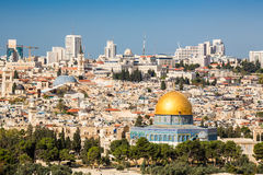 Skyline of the Old City at Temple Mount in Jerusalem, Israel. Royalty Free Stock Photography