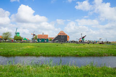 Skyline of old  town of Zaanse Schans Stock Photography