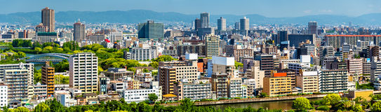 Skyline of Osaka city in Japan Royalty Free Stock Image