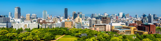 Skyline of Osaka city in Japan Stock Photo