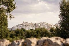 Skyline of Ostuni, the white city of Puglia stock image
