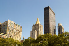 Skyline over Madison Square Park, NY Royalty Free Stock Image