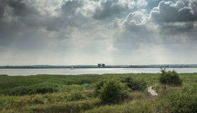 Skyline over the river Thames alongside Purfleet, Grays, Essex Royalty Free Stock Photography