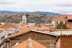 Skyline over Sucre, bolivia. Aerial view over the capital city. The White City stock photos