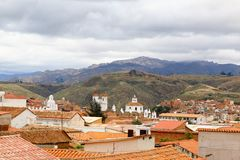 Skyline over Sucre, bolivia. Aerial view over the capital city royalty free stock photography