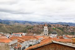 Skyline over Sucre, bolivia. Aerial view over the capital city. The White City royalty free stock photos