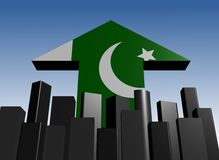 Skyline and Pakistani flag arrow Royalty Free Stock Photo