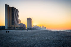 Skyline of Panama City Beach, Florida at Sunrise Stock Photos