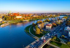 Krakow skyline, Poland, with Zamek Wawel castle and Vistula River. Skyline panorama of Cracow,  Poland, with Royal Zamek Wawel Castle, Cathedral, Vistula River Royalty Free Stock Photos