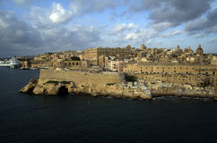 Skyline and panoramic view at harbor Valletta at early morning Royalty Free Stock Image