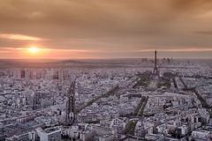 Skyline of Paris. From above in sunset royalty free stock images