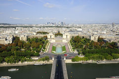 Skyline of Paris city with Seine river Stock Photos