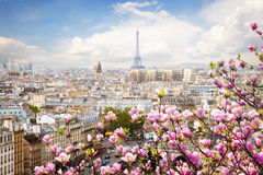 Skyline of Paris with eiffel tower Royalty Free Stock Images