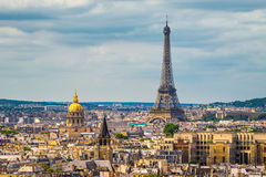 Skyline of Paris with Eiffel tower stock photography