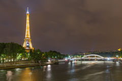Skyline from Paris with Eiffel tower at night Stock Photography