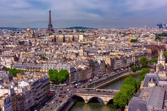 Skyline of Paris with Eiffel Tower and Seine river in Paris stock photos