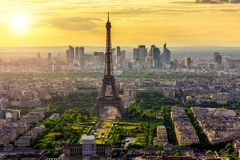 Skyline of Paris with Eiffel Tower at sunset in Paris stock photos