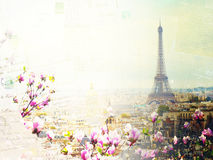 Skyline of Paris with eiffel tower Royalty Free Stock Photos