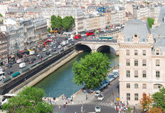 Skyline of Paris, France. View of Paris old town and Seine river at sunny summer day, France Stock Photo