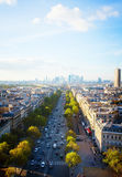 Skyline of Paris and La Defense district , France Royalty Free Stock Photography