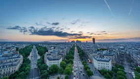 Skyline of Paris with la defense at sunset Stock Photography