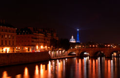 Skyline of Paris by night Royalty Free Stock Photo