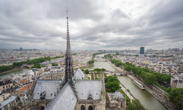 Skyline of Paris from Notre Dame with Seine river Stock Images