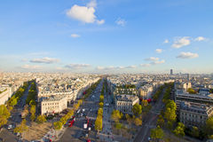 Skyline of Paris from place de l��toile, France Stock Images