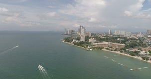 Skyline of Pattaya from aerial view, Pattaya city, Chonburi stock footage