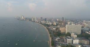 Skyline of Pattaya from aerial view, Pattaya city, Chonburi stock video