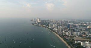 Skyline of Pattaya from aerial view, Pattaya city, Chonburi stock video footage