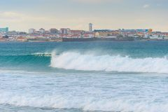 Skyline  Peniche ocean town Portugal. Skyline of Peniche - coastal town in Portugal. Atlantic ocean in the foreground royalty free stock photography